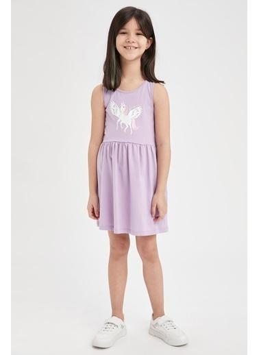 DeFacto Kız Çocuk Unicorn Baskılı Kolsuz Elbise Mor